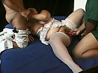 Chubby Whore In White Stockings Takes Part In MMF Threesome