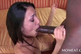 Skinny Brunette Blowing Massive Black Cock
